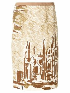 Prada Pre-Owned cathedral printed skirt - Neutrals