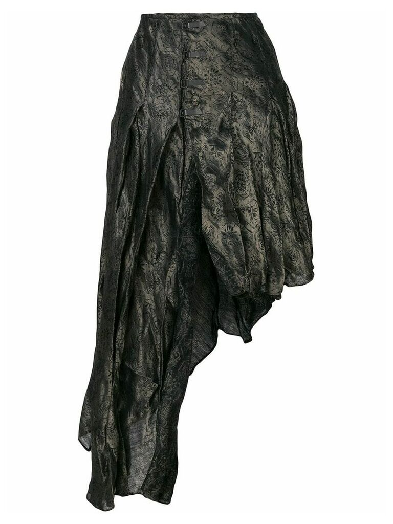 Romeo Gigli Vintage roses jacquard asymmetric skirt - Grey