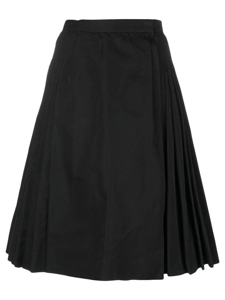 Yves Saint Laurent Pre-Owned pleated midi-skirt - Black