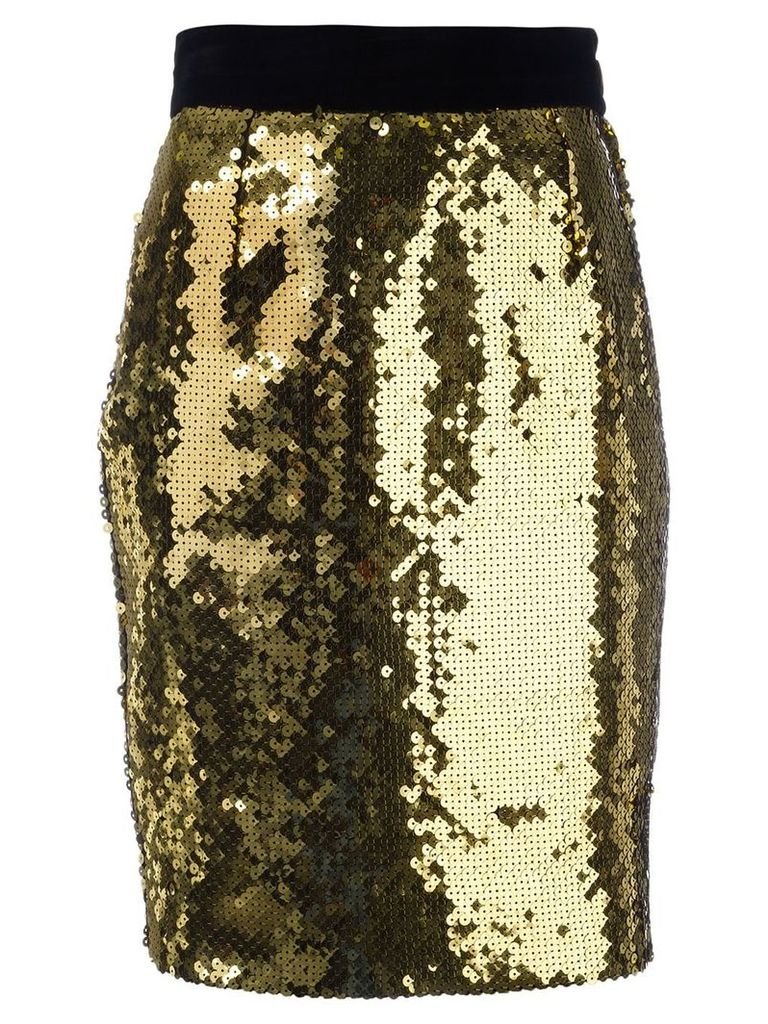 Moschino Vintage sequin pencil skirt - Yellow
