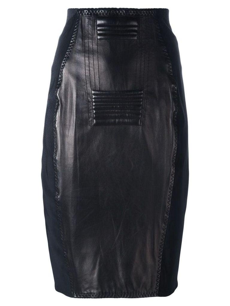 Jean Paul Gaultier Vintage leather panelled skirt - Black