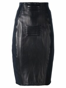 JEAN PAUL GAULTIER PRE-OWNED leather panelled skirt - Black