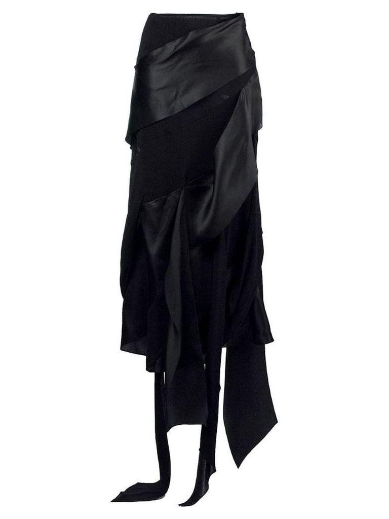 Christian Lacroix Vintage asymmetric draped midi skirt - Black