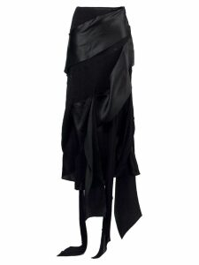 CHRISTIAN LACROIX PRE-OWNED asymmetric draped midi skirt - Black