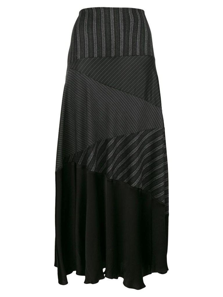 Romeo Gigli Vintage stripe flared midi skirt - Black