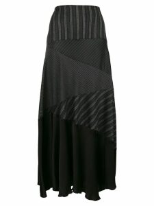 Romeo Gigli Pre-Owned stripe flared midi skirt - Black