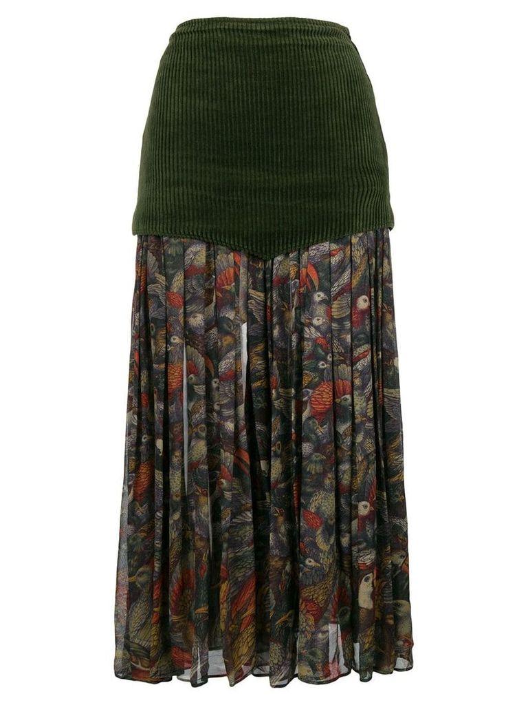 Versace Vintage floral pleated midi skirt - Green