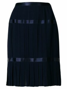 Yves Saint Laurent Pre-Owned pleated mid-length skirt - Blue