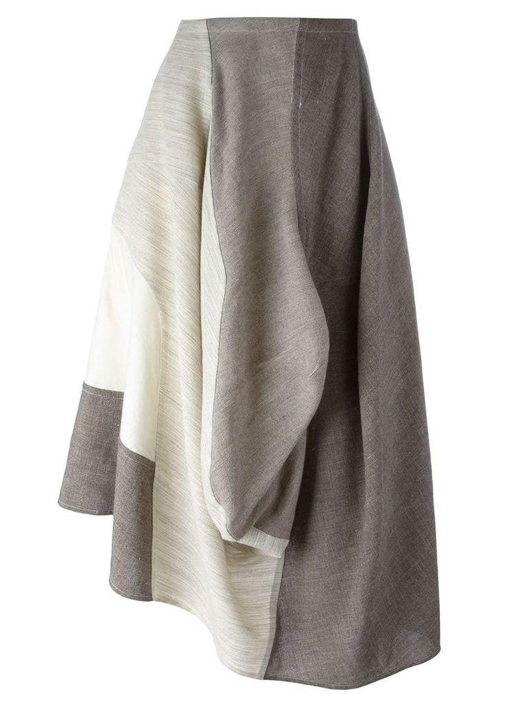 Comme Des Garçons Vintage 1998 mixed fabric skirt - Brown