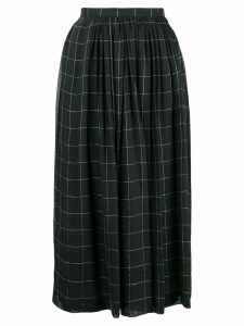 Giorgio Armani Pre-Owned checked pleated midi skirt - Black