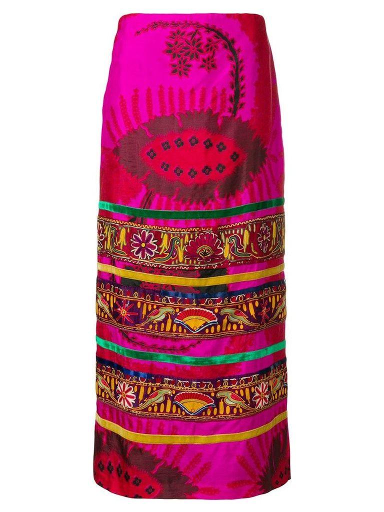 William Vintage 1972 bohemian midi skirt - Pink
