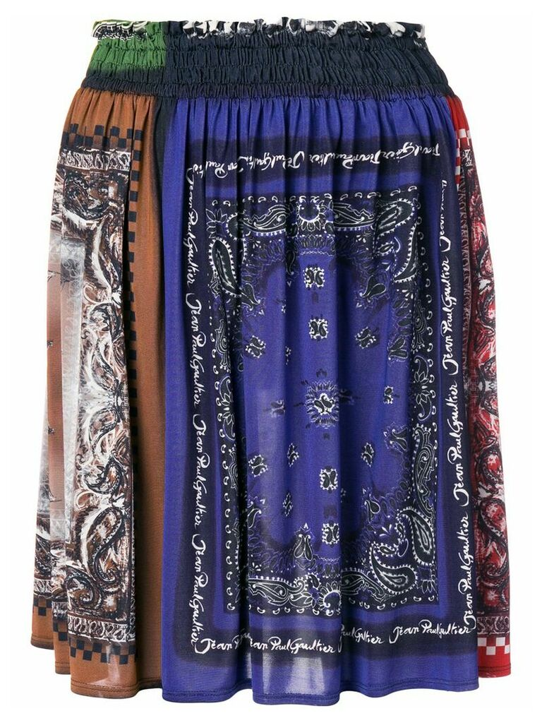 Jean Paul Gaultier Vintage bandana print gathered skirt - Blue