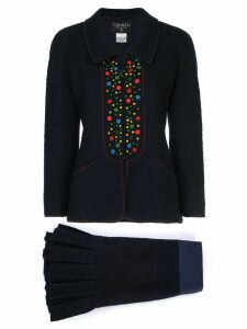Chanel Pre-Owned dots detail skirt suit - Blue