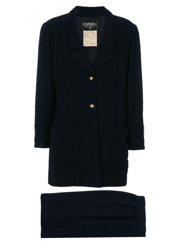 Chanel Vintage embellished-button skirt suit - Blue