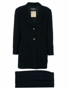 Chanel Pre-Owned embellished-button skirt suit - Blue