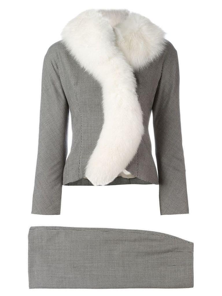 Christian Dior Vintage houndstooth fox fur skirt suit - Black