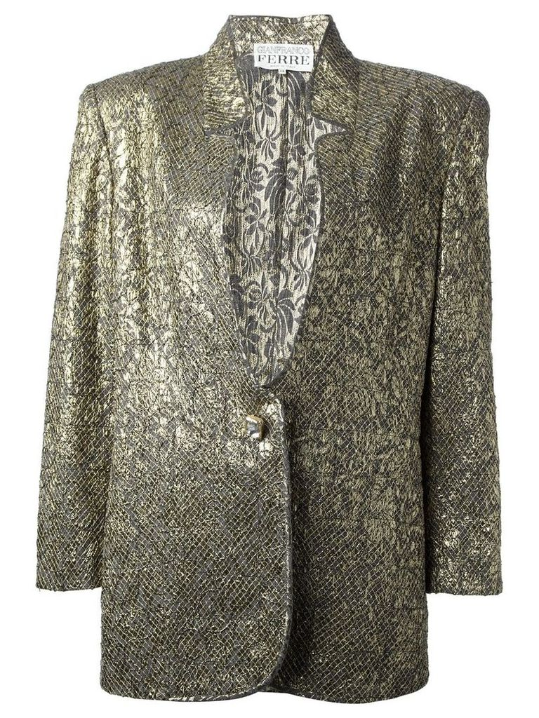 Gianfranco Ferre Vintage jacquard jacket and skirt suit - Metallic