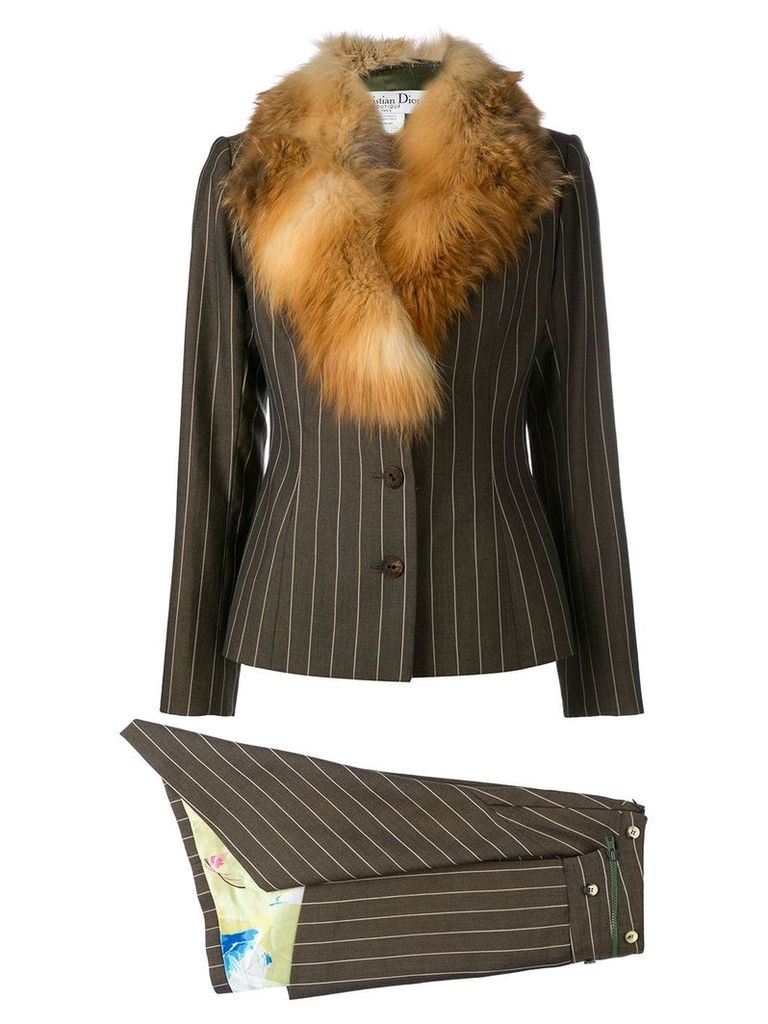 Christian Dior Vintage fox fur collar skirt suit - Brown
