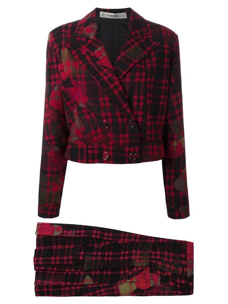 Jean Louis Scherrer Pre-Owned tartan skirt suit - Red