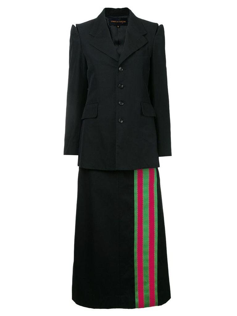 Comme Des Garçons Vintage striped trimmed blazer and skirt - Black