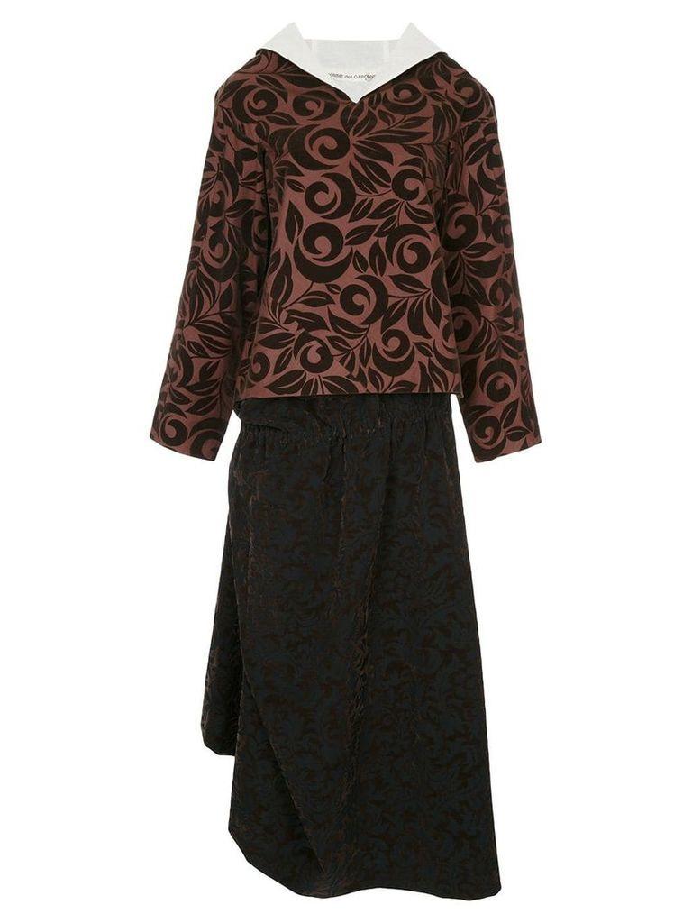 Comme Des Garçons Vintage Swirling Fleur skirt suit - Brown