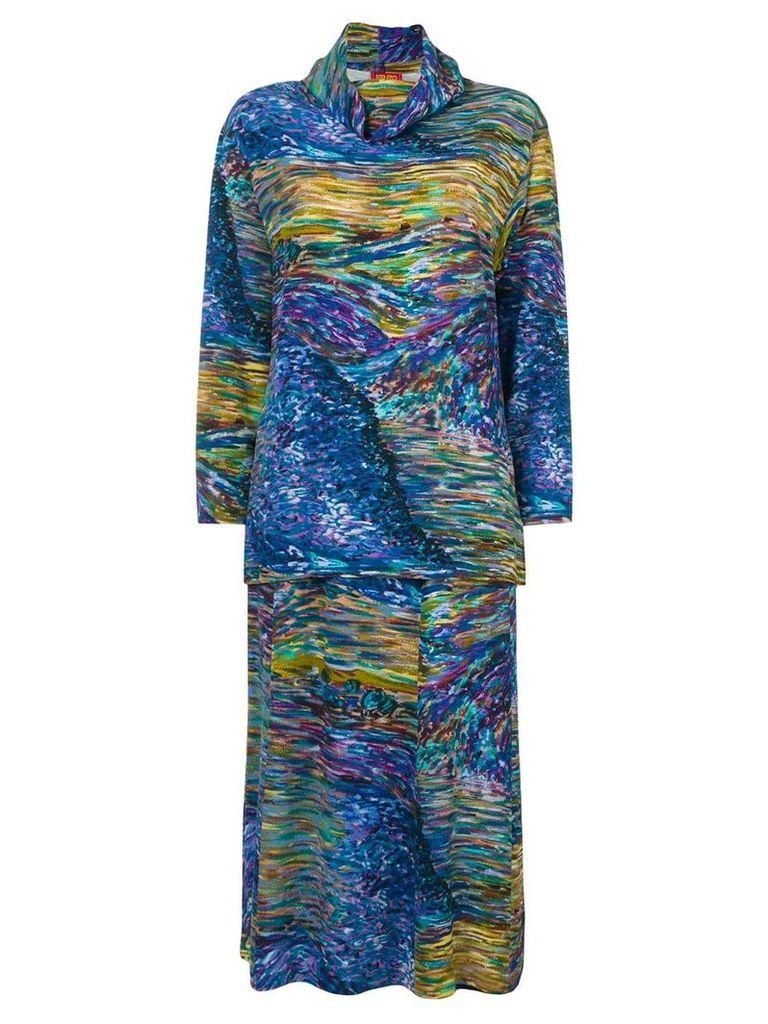 Kenzo Vintage abstract print skirt ensemble - Blue