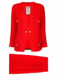 Chanel Pre-Owned waffle texture skirt suit - Red