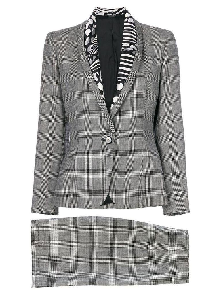 Versace Pre-Owned Prince of Wales print skirt suit - Grey