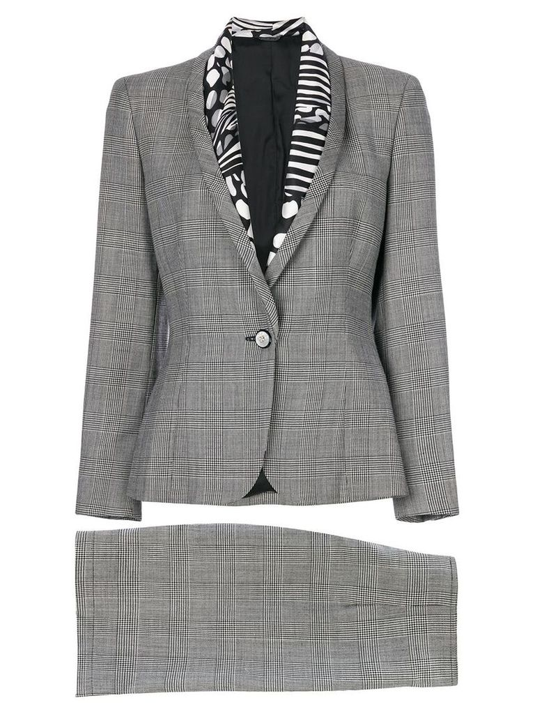 Versace Vintage Prince of Wales print skirt suit - Grey