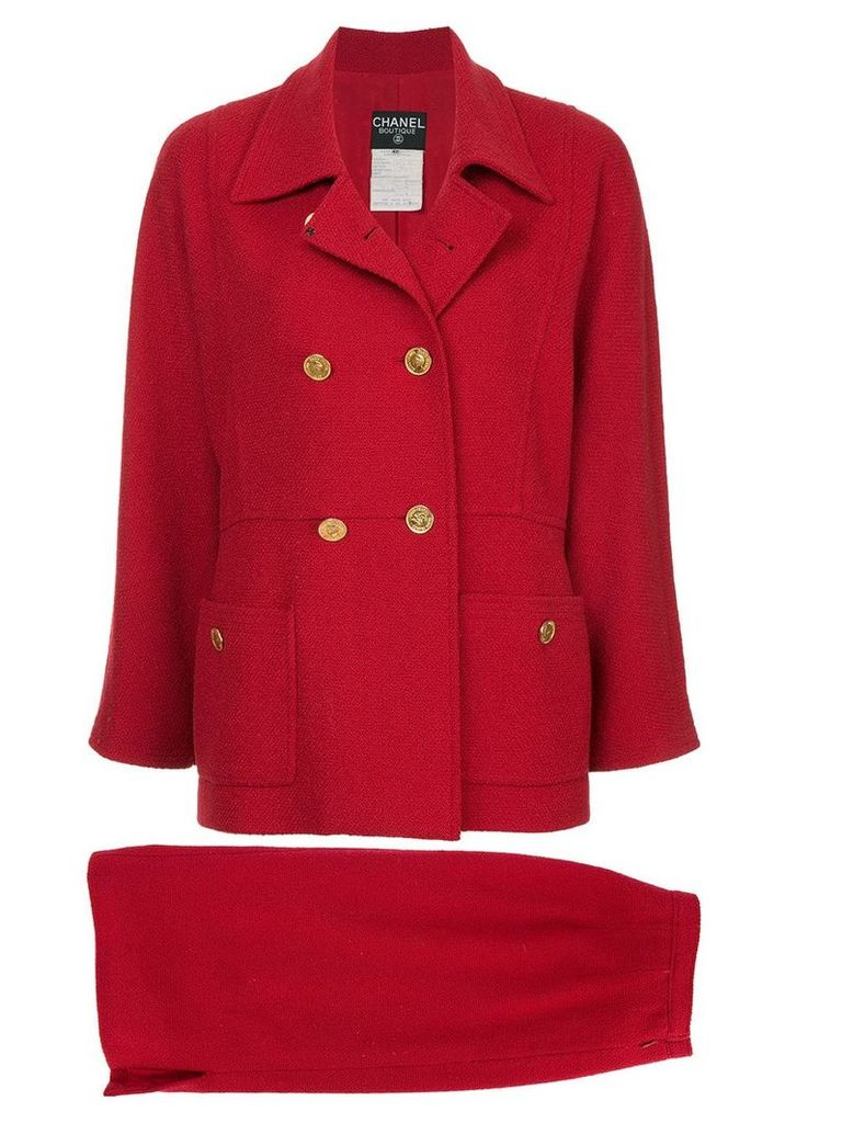 Chanel Vintage double breasted skirt suit - Red