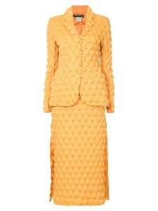 Issey Miyake Pre-Owned egg carton skirt suit - Yellow
