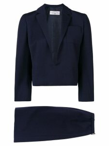 Christian Dior Pre-Owned 1984 straight skirt suit - Blue