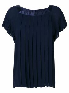 Yves Saint Laurent Pre-Owned pleated loose blouse - Blue