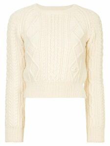 Chanel Pre-Owned multi-patterned cropped jumper - White