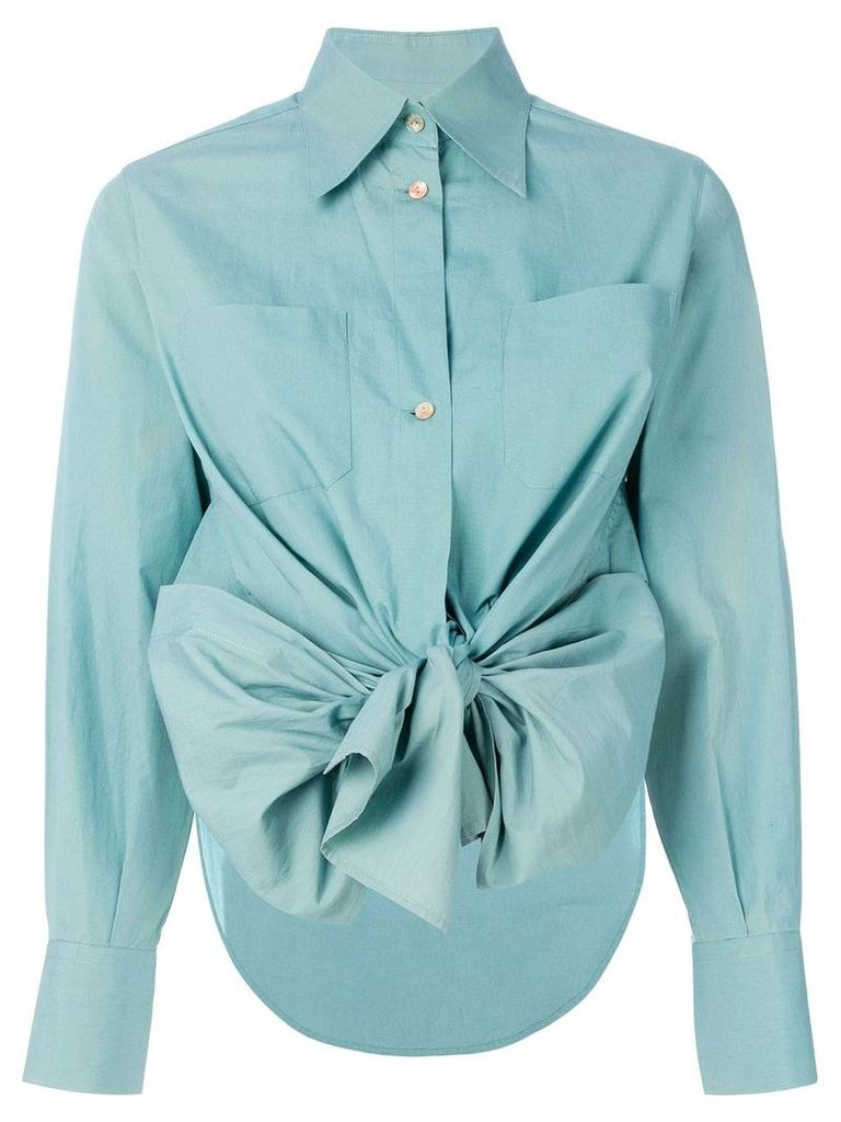 Jean Paul Gaultier Vintage high low hem bow shirt - Green