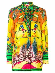 VERSACE PRE-OWNED ski print shirt - Multicolour
