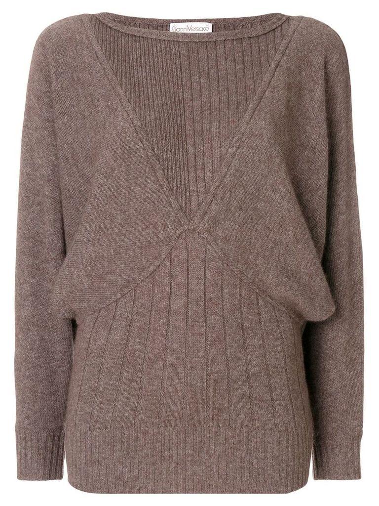 Versace Vintage batwing sleeves ribbed jumper - Brown