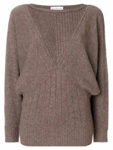 Versace Pre-Owned batwing sleeves ribbed jumper - Brown