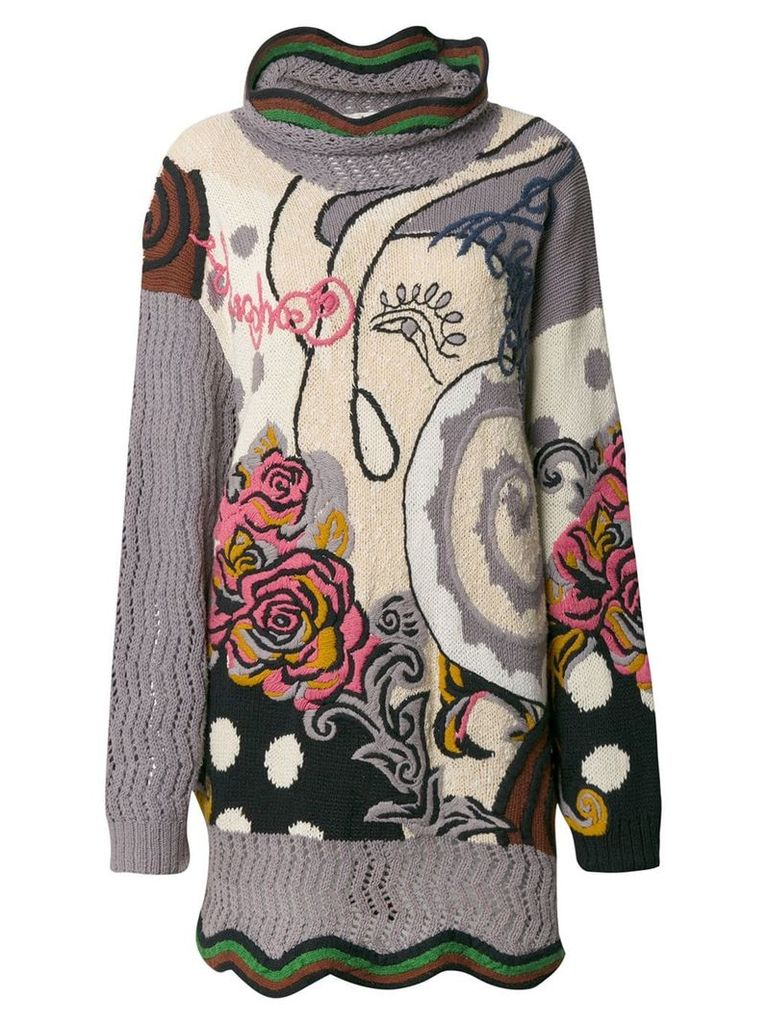 Kansai Yamamoto Vintage floral embroidered knitted jumper -