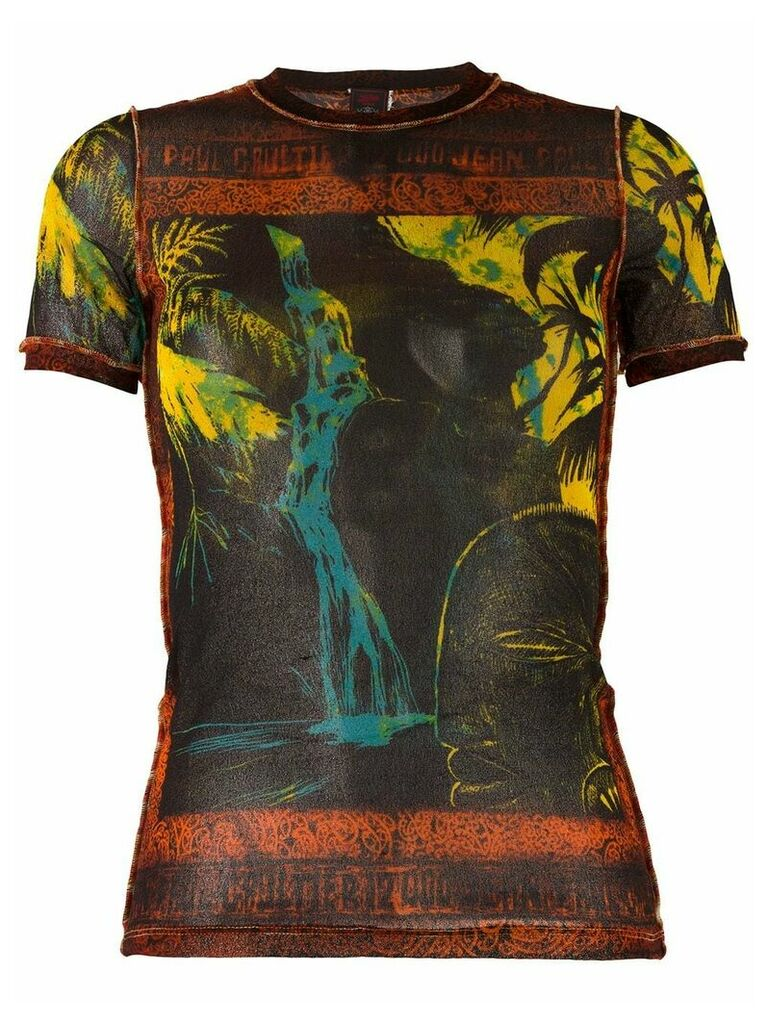 Jean Paul Gaultier Vintage waterfall print sheer T-shirt - Black