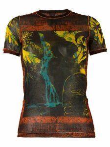 Jean Paul Gaultier Pre-Owned waterfall print sheer T-shirt - Black