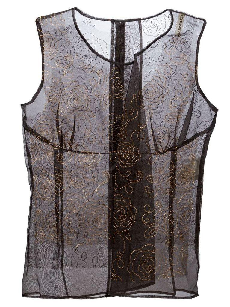 Comme Des Garçons Vintage embroidered flower top - Black