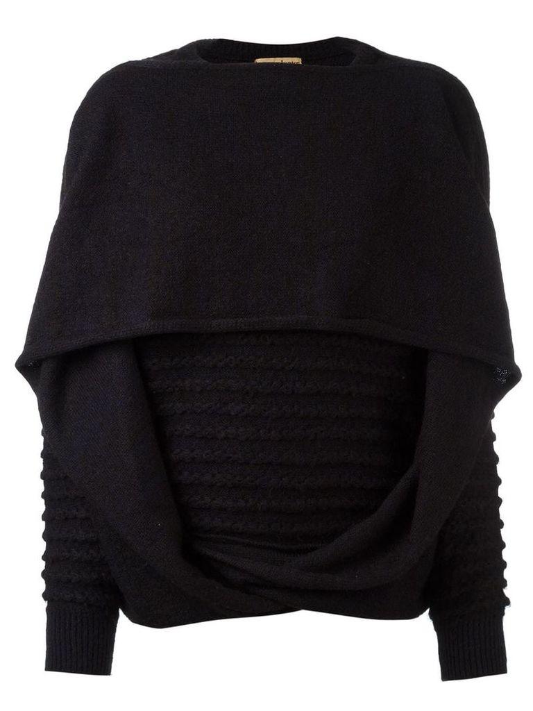 Issey Miyake Vintage knitted draped sweater - Black