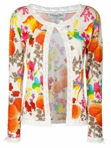 CHRISTIAN DIOR PRE-OWNED floral lace trim cardigan - Multicolour