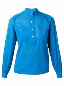 Yves Saint Laurent Pre-Owned mandarin collar blouse - Blue