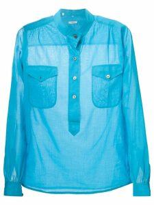 Yves Saint Laurent Pre-Owned band collar shirt - Blue