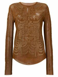 Jean Paul Gaultier Pre-Owned 2000 mesh printed top - Brown