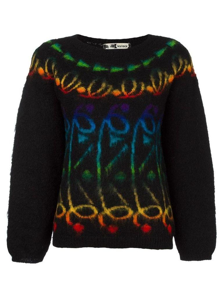 Kansai Yamamoto Vintage patterned knit jumper - Black