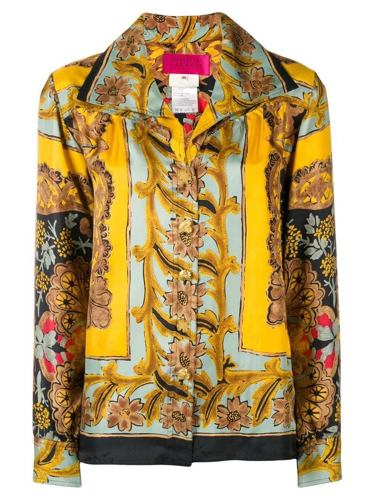 Christian Lacroix Vintage wide collar floral shirt - Yellow