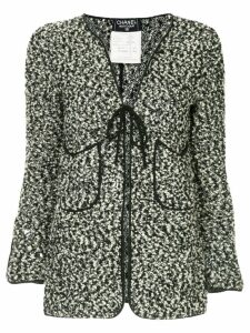 Chanel Pre-Owned flocked tied cardigan - Black